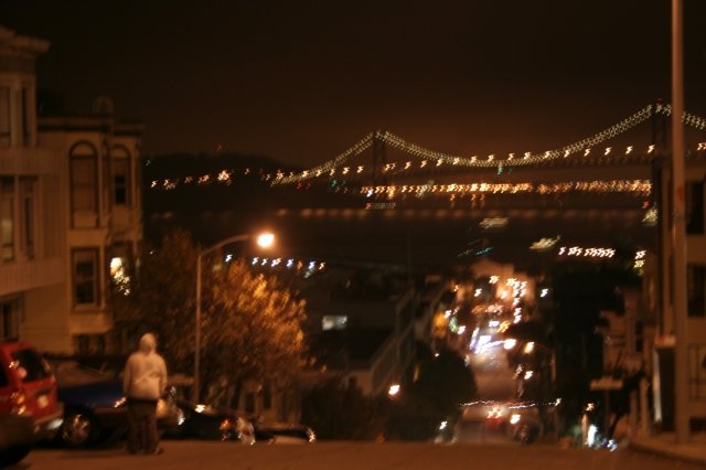 Bay Bridge at midnight - just before the fireworks started up.