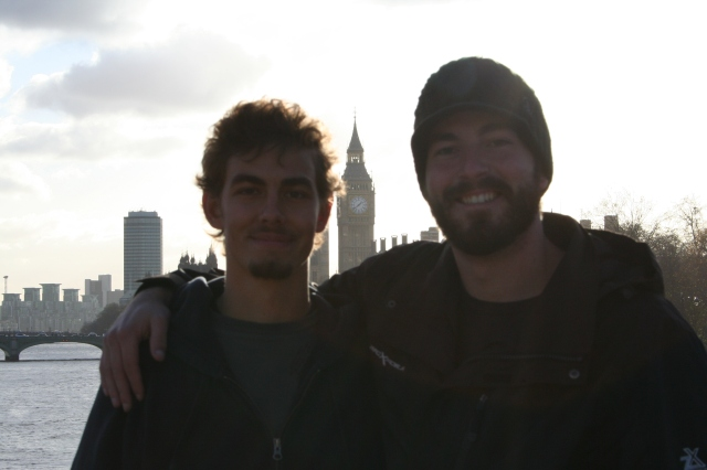 Josh and Andy after six weeks on the road through Europe.  They were pretty ready to go home at this point!