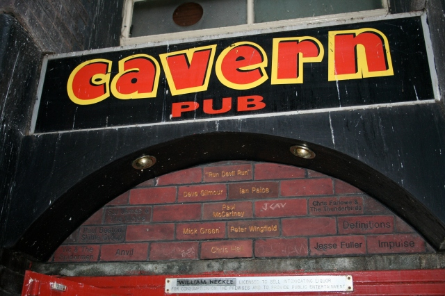 Strange underground pub full of all sorts of rock n' roll memorabilia.