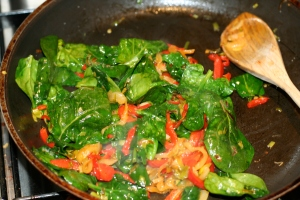 Mixing up the veggies.