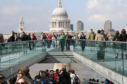 There I am on the Millennium Bridge...I'm wearing a green jacket.