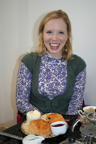 Ashli about to tuck in to her cream tea!