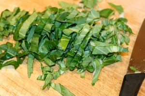 Such nice thin strips!  This is a great way to cut fresh basil too - just do the same thing and slice really thinly.