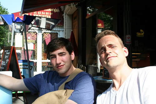 Matthew and Scotty on their first day of class!  Grabbing an espresso before registration.