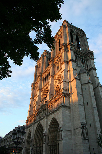 Sunset lighting up Notre Dame