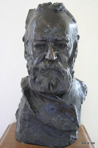 Victor Hugo - modeled from sketches that Rodin took covertly while visiting the great author.  He would watch Hugo, scratch out sketches on cigarette papers and then rush home to his studio to work.