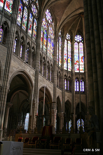 Gorgeous arches and stained glass.