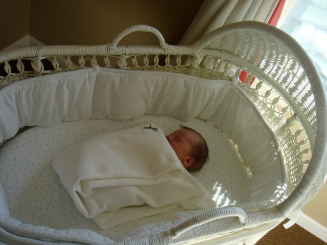 I love how tiny he looks in his bassinet - just like a little peanut.