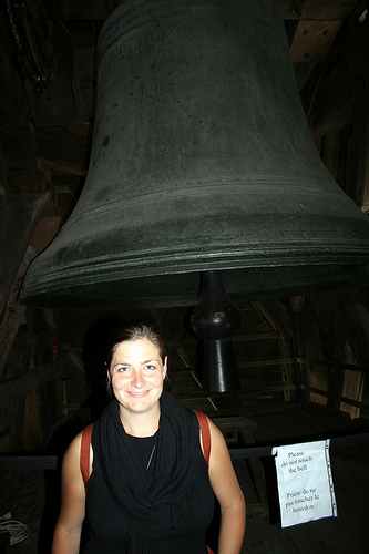 Please ignore the blinding flash whiteness of my face and focus on the size of this bell...please.
