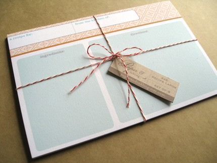 Cute Blue Recipe Cards