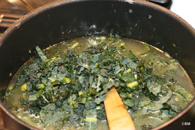 Adding the kale.