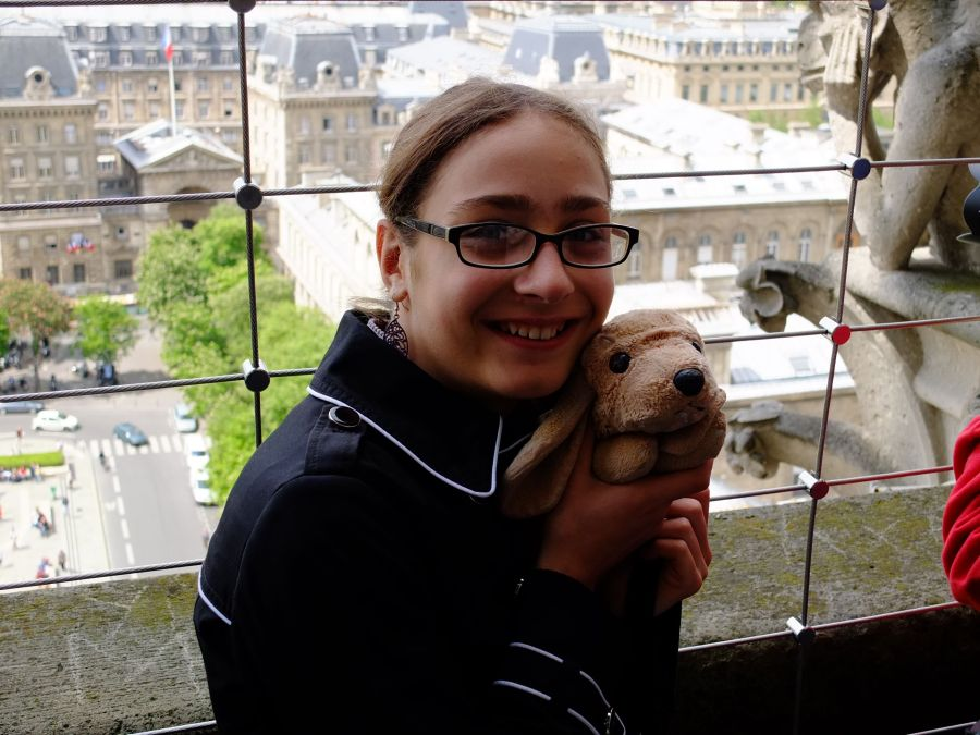 Katie, with her beloved Skippy, standing atop Notre Dame.